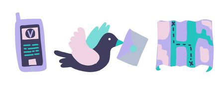 Vector illustration with delivery symbols. Carrier pigeon with envelope, smartphone and paper card. Symbols of delivery and movement. Flat transport company icon and logo