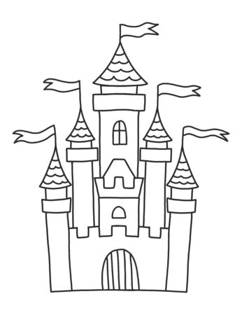 Coloring book for adults and children with a beautiful castle or palace. Castle with towers and flags. A magical story for creativity and coloring. A series of coloring books about the kingdom