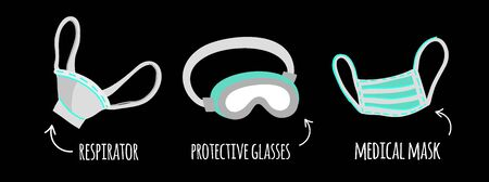 Mini set vector clip-art medical mask, respirator and protective glasses on a black isolated background. Illusion of protection means with flat style signatures. Coronovirus protection during the epidemic