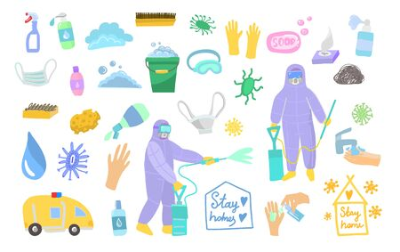 Chemical cleaning services. Symbol of spraying against coronovirus in flat style. Vector illustration of disinfection of microbes and bacteria. Stickers on a white background isolated