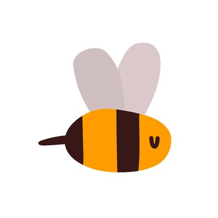 Cute little wasp, bee, bumblebee, yellow insect in black stripes with cute wings and a sting. Vect clip art for print and design of children s products, apiaries, beekeeping. A cute insect flies about its business Çizim