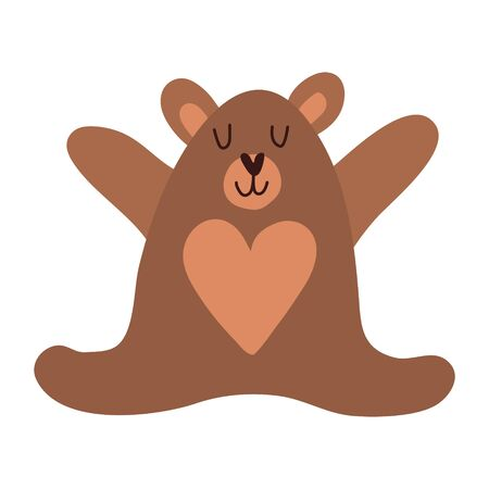 Cute cartoon teddy bear. Vector illustration in scandinavian style. T-shirts, apparel design clothes, cards, baby shower invitations. Good brown grizzly bear, wild animals. Series of animals. Teddy bear. Brown toy bear for design of children s goods and things. Sticker for a photo shoot with cute little animals. 向量圖像