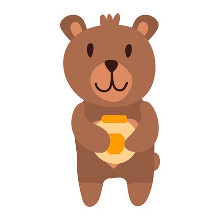 Vector illustration, funny baby bear likes to eat honey from a pot. Cute bear cartoon hand drawn vector illustration in flat style with a jar of honey. Can be used for printing on t-shirts, children s clothing, children s invitation cards. Good brown grizzly, wild animals.