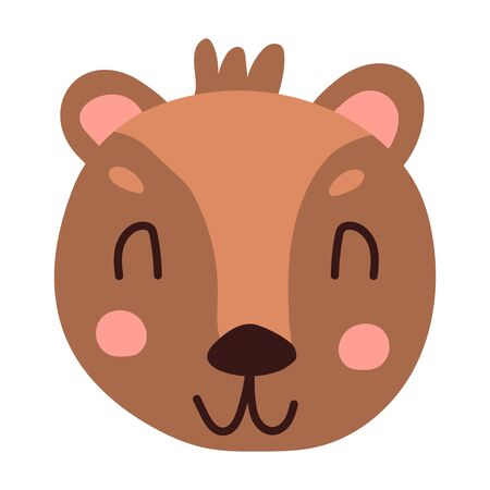 Cute face bear cartoon hand drawn vector illustration in flat style. Can be used for printing on t-shirts, children s clothing, children s invitation cards. Beautiful brown bear in scandinavian style.