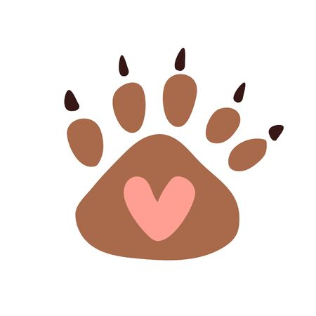 Cute big bear paw print with a heart inside and claws. Printing on cards, t-shirts, baby clothes and toys.    toy store, clothes for children, a pet store.