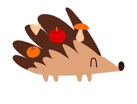 Cute little hedgehog with apples and mushrooms. Cute kawaii cartoon character. Baby greeting card template. Flat design. Vector illustration with a good hedgehog Иллюстрация