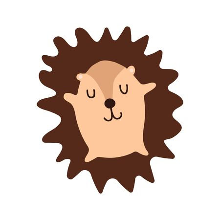A good little hedgehog sleeps. Cute kawaii cartoon character. Baby greeting card template and print. Flat design. Vector illustration with cute hedgehog. Cute kid for printing on goods for children. Ilustrace