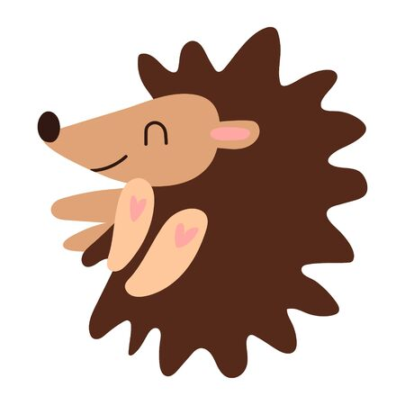 A good little hedgehog sleeps. Cute kawaii cartoon character. Baby greeting card template and print. Flat design. Vector illustration with cute hedgehog. Cute kid for printing on goods for children. Illustration