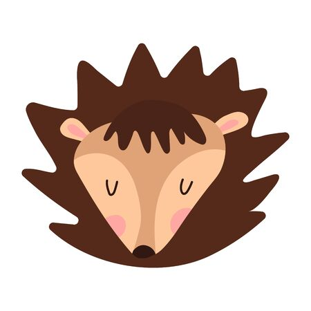 Cute little face hedgehog kawaii cartoon character. Baby greeting card template. Flat design. Vector illustration with a good hedgehog. Small forest animal on a white background clip art isolated.