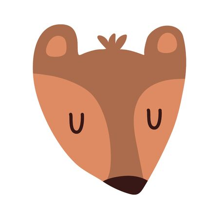 Taddy bear. Cute animal sleeping face. Vector. Cute face bear cartoon hand drawn vector illustration in flat style. Can be used for printing on t-shirts, children s clothing, children s invitation cards. Beautiful brown bear in scandinavian style Illusztráció