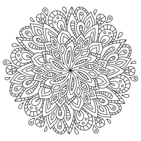 Vector illustration circle mandala floral ornament. Hand drawn art mandala. Made by trace from sketch. Ink pen. Black and white background