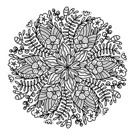 Vector botanical mandala in a circle with beautiful flowers and leaves. Coloring book for adults for relaxation and meditation. Many small details, black and white graphics for printing on yoga products. Vettoriali