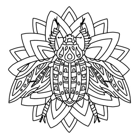 Greeting card with a beetle on a flower. Beautiful insect with spread wings. Insect ornament made in vector. Decorative coloring for adults and teens. Antistress coloring book with cute insect.