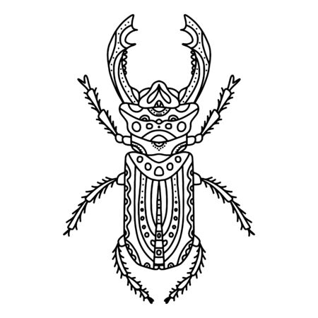 Vector antistress coloring book with beetle with horns, a series of coloring pages with insects. Coloring page with small details. Stag beetle black and white coloring line art.