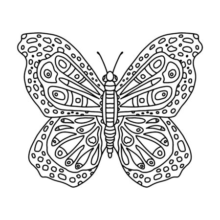 Coloring book for adults and older children with patterns. Coloring and contour drawing. Vector decorative butterfly with many small details.Butterfly with red wings and  patterns. Antistress coloring book.