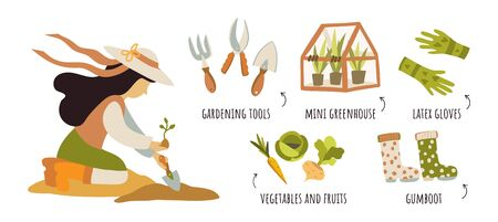 Girl farmer plants plants and harvests. Organic Clean Food Wellness Infographic Design Template. Concept vector illustration clip-art with captions. Tools, vegetables, clothes, character.