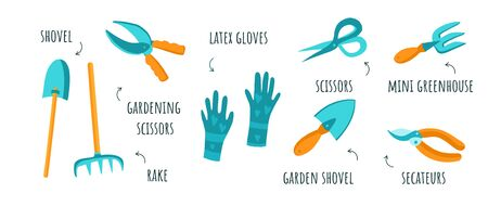 Vector set of various garden tools, such as a fork, scissors, shovel, pruner, rubber gloves. Clip art in flat style on a white background with captions. Stickers, garden tools, farm.