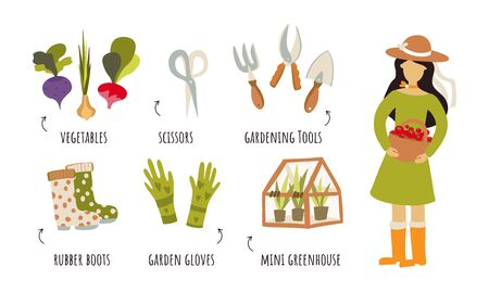 Healthy vegetables and farm tools, vector infographic. Girl lifestyle, woman figure, vegetables, garden gloves, rubber boots, greenhouse, scissors. Clip art illustration in flat style Vettoriali