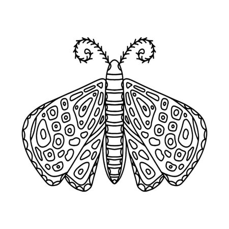 Butterfly moth black hand-drawn contour. Delicate coloring book design for adults and teenagers with small patterns. Antistress coloring book for stress and meditation.
