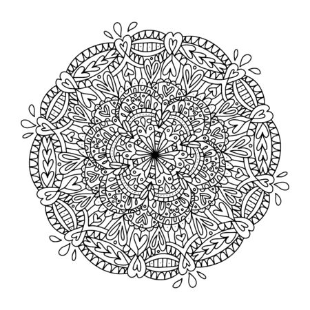 Vector coloring book for adults with a mandala. Magic love mandala to relieve stress, printable coloring pages, print black and white, yoga, circular roundabout composition.
