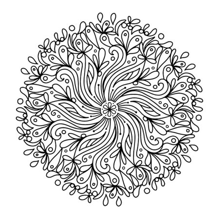Monochrome elegant line art circular pattern in black and white. Circular mathematical ornament coloring book for adults and adolescents. Zentagl antistress doodle coloring book mandala. Vettoriali
