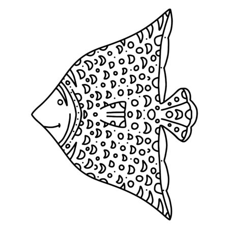 Fish decorative graphic fish and moon line drawing. Vector and coloring book for children and adults. Coloring book page. Hand drawn sea animal illustration.