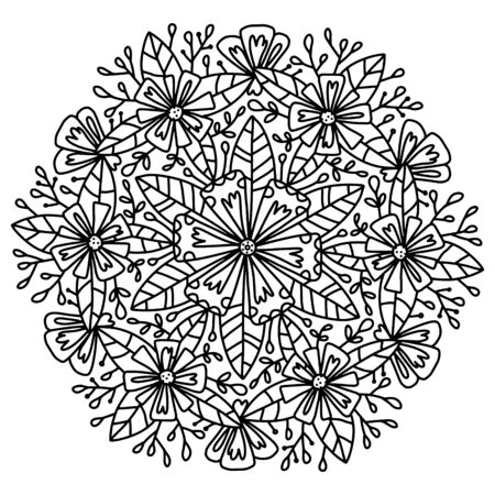 Greeting card with ethnic cornflower ornament in a round composition. Vector black and white line art graphics with modern stylization of a flower. Botanical mandala coloring book for adults and teens