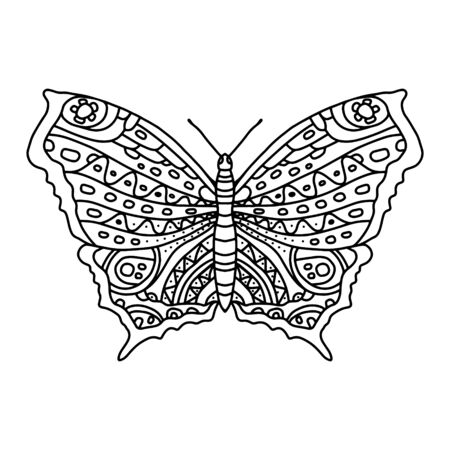 Coloring page with beautiful butterfly for adults and older children. A butterfly in anistress lengths. Coloring, contour drawing, line art. Coloring book series with insects for printing in a coloring book Vettoriali
