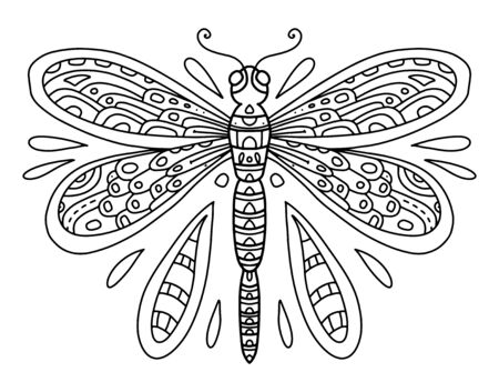 Vector coloring book with dragonfly line art black and white illustration. Insect with wings and small details. Coloring page for adults and children with dragonfly. A series of coloring pages with insects Vettoriali