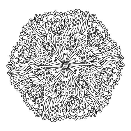 Vector flower mandala. Coloring book for adults and children line art in modern graphic styles. Flowers, leaves and twigs in fashionable styling. Coloring page for printing in a print shop, printing. A series of coloring pages with mandalas.
