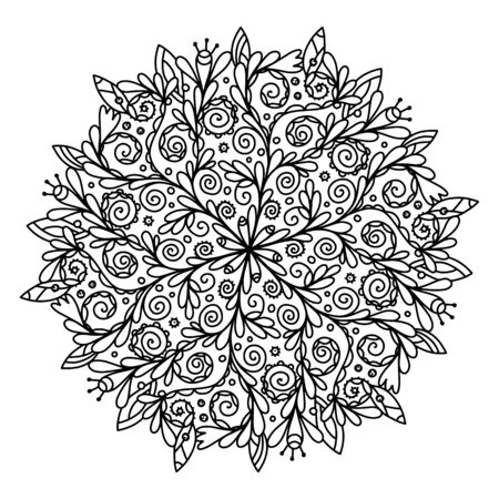 Vector coloring composition in a circle. Ornament of beautiful curls mandala. Antistress coloring to relieve stress during coloring by pencils, felt-tip pens, paints. Printing in a book, on rugs and yoga clothes, postcards.