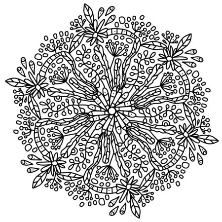 Vector flower daisy with leaves mandala. Botanical coloring for adults and children. Line art in modern graphic styles. Flowers, leaves and twigs in fashionable styling. Floral coloring page on a floral theme Vettoriali