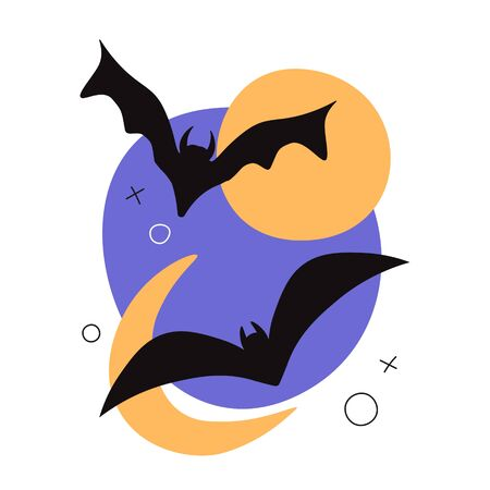 Vector illustration of a Halloween night scene, cute bats flying against the background of the moon. Full moon, minimalism, Halloween card. Template, poster or card. Greeting card in minimal flat style. Vettoriali
