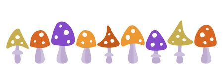 Vector set of multi-colored fly agaric mushrooms on a white background. Horizontal banner, background for social network, advertising. Funny mushrooms of violet, green, yellow and red color in white peas. Horizontal banner for background and social network header.