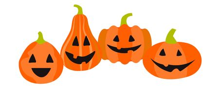 Vector four funny pumpkins in flat style on a white background. Horizontal banner, background for social network, advertising. The halloween symbol is bright red Vettoriali