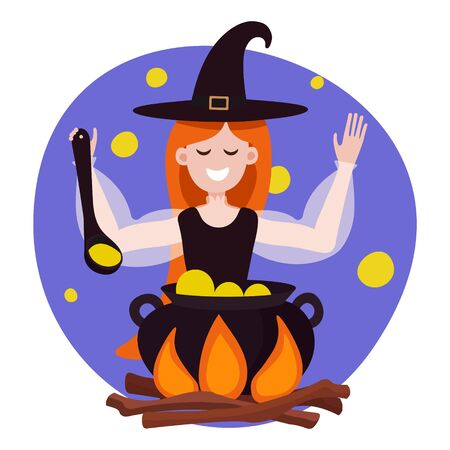 Witch is preparing a green potion in a cauldron. Vector illustration of a red-haired cute witch with a smile in a flat style. The sorceress cooks something poisonous in her cauldron on Halloween night. Cute card for the night of all saints, illustration for a poster, poster