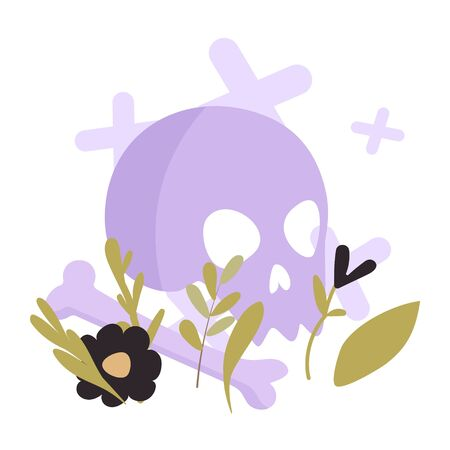 Vector greeting card with skull and flowers in flat style. Greeting card with a skull on a white background. Gift sticker for halloween, skull with bones, herbs and black flowers.