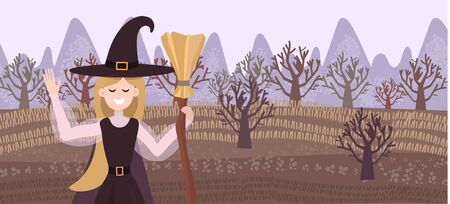 Vector background and banner with a field and a witch who welcomes you. Cute girl on a background of a forest in autumn, banner for halloween, advertisement for a holiday or evening party