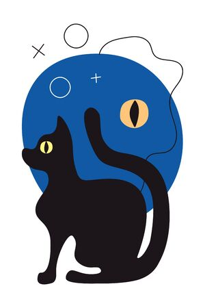 Vector greeting card with abstract night, eye of a black cat in flat style. Vertical greeting card with an animal for Halloween. Modern trendy stylization, background for a poster, flyer. Blue night, yellow eye and black cat