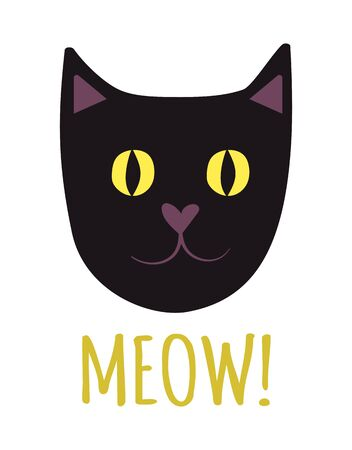 Vector face of a black cat with bright yellow eyes on a white background with the signature meow. Cute cat face for Halloween card, poster, flyer, on the eve of all saints
