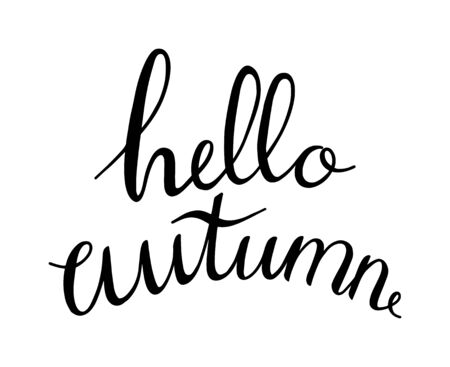 Vector hand written lettering quote hello autumn. Modern calligraphy phrase. Hello Autumn hand written. Black ink on a white background isolated. Printing and prints for autumn goods Vettoriali