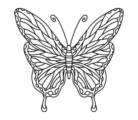 Vector coloring book with butterfly for adults and children. Coloring book with an insect with beautiful wings. Coloring page for coloring by pencils, felt-tip pens, paints or in electronic form. Decorative coloring with small details and patterns.