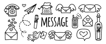 Vector doodles set message, letter, typewriter, paper airplane, phone, mobile phone, letter with wings, a bottle with a letter. Naor doodle stickers to illustrate communication of people on the Internet, media, social networks Vettoriali