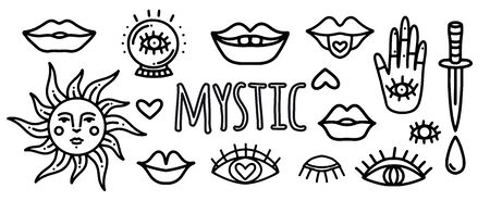 Set of hand drawn tattoo.Vector set of doodle stickers for tattoos with mystical eyes, dagger, lips, hipster and ezeteric symbols. Tattoo and line art pictures with mystical objects eyes, lips, sun, palm with an eye Vettoriali