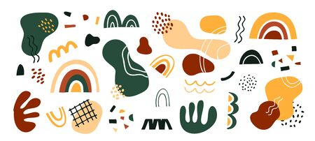 Hand drawn set of various shapes and doodle objects. Abstract modern modern trendy vector illustration. Stamp texture, rainbow, spot, line, zigzags. Green, yellow and red