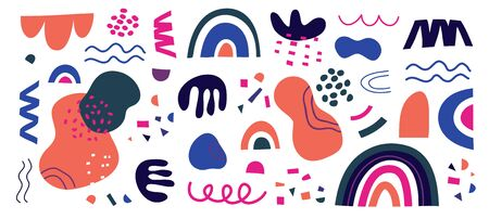 Set of vector hand drawn blue and pink shapes and doodle objects on white background. Abstract modern modern trendy vector illustration. Stamp texture, rainbow, spot, line, zigzags