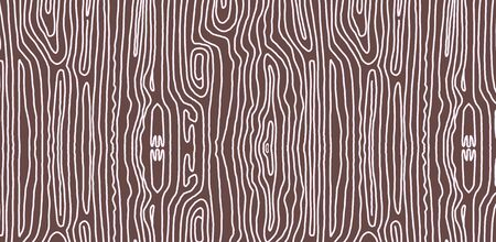 Vector illustration with wood texture. Vector background texture wood white on a brown background. Seamless endless horizontal background. Abstract curve lines doodle lines