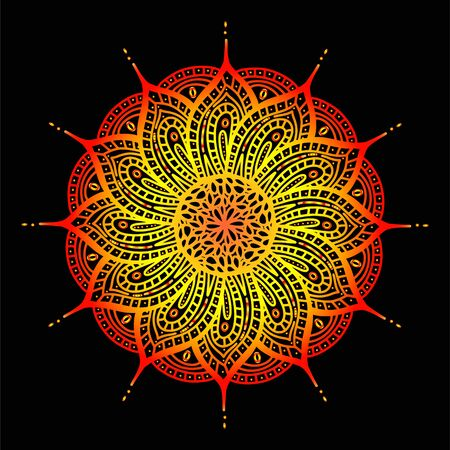 Vector illustration of a beautiful indian golden sun ornament can be used as a design element, invitation or greeting card. Yoga, meditation and relaxation. Yellow and red zentagall mandala