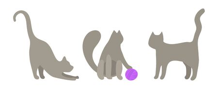 Mini vector set of gray cats in flat style. A cute cat stretches, plays with a ball of purple thread, the cat stands and looks. Three cute kittens are played. Vector clip art. Vettoriali
