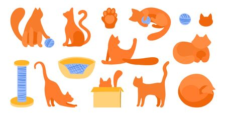 Vector set of silhouettes of red cats in flat style. Vector callip art animal. Scratching post, bedding, tangle for playing, cat s paw. Cute cats for flat design.